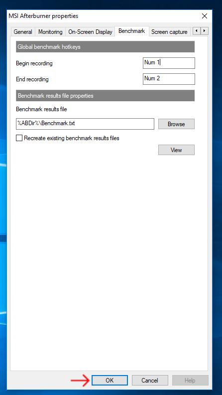 MSI Afterburner Benchmark Step 5