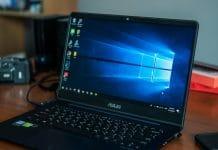 Windows laptop on desk